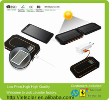 Shenzhen Letsolar portable solar charger 6000mAh,foldable solar power bank for iPhone/iPad/all cellphones