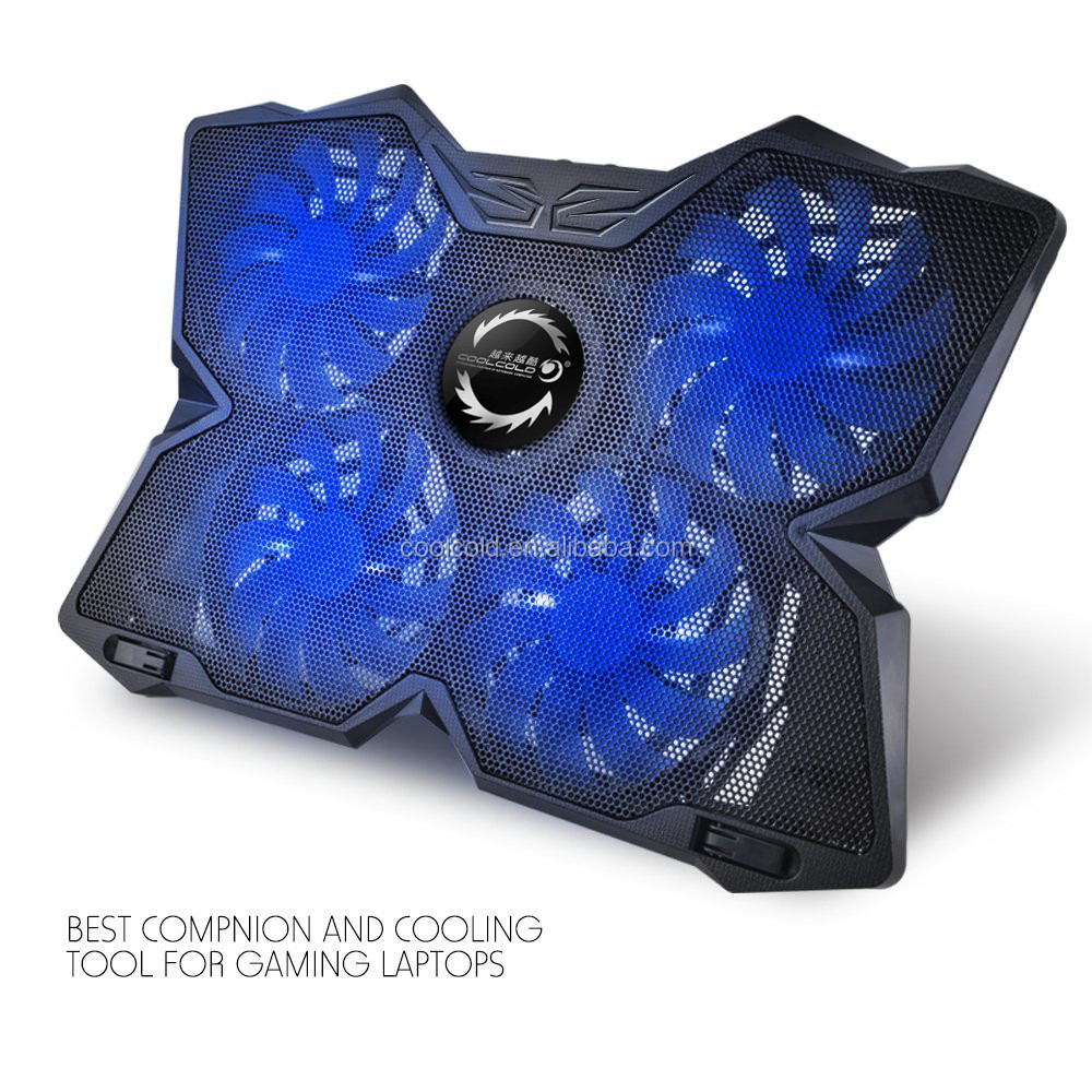Coolcold Own brand gaming laptop cooling pad,4 usb LED light cooling fan for msi