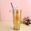 Plastic water tumbler with straw bpa free