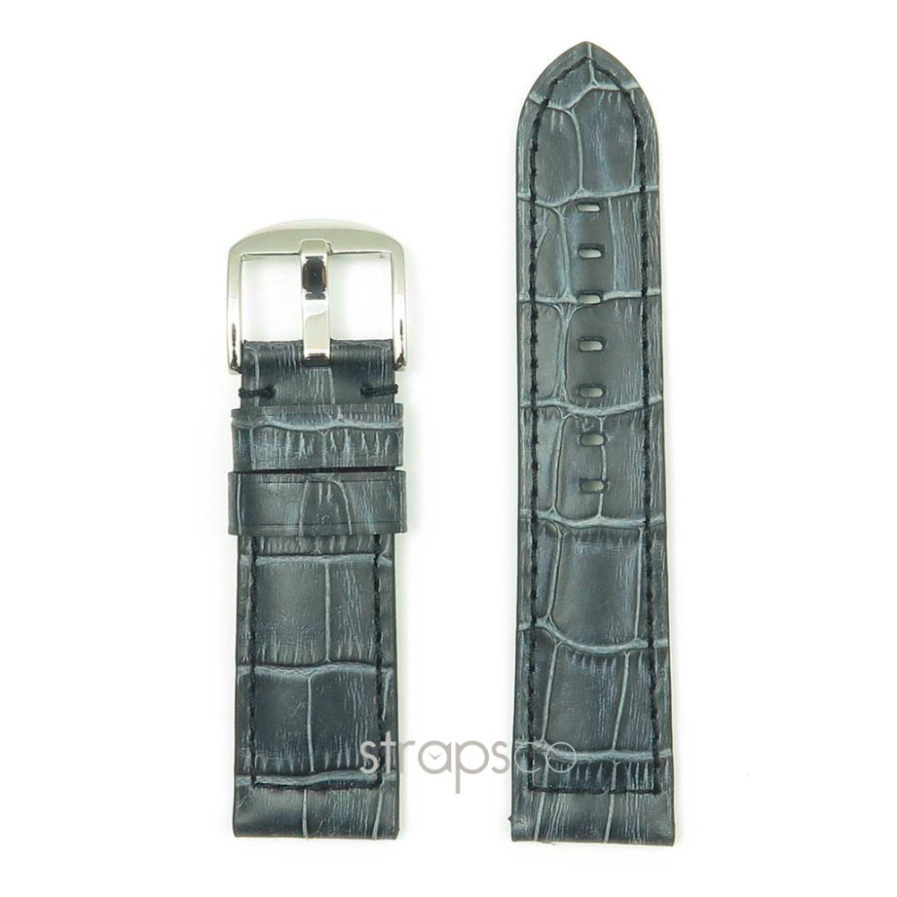 DASSARI Cartel Italian Leather Croc Vintage Watch Band Strap in Charcoal for Panerai