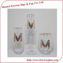 Wholesale clear glass stemless champagne flutes with gold rim