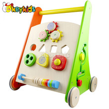 Wholesale colorful activity walker wooden push walker for baby outdoor walking aid W16E047