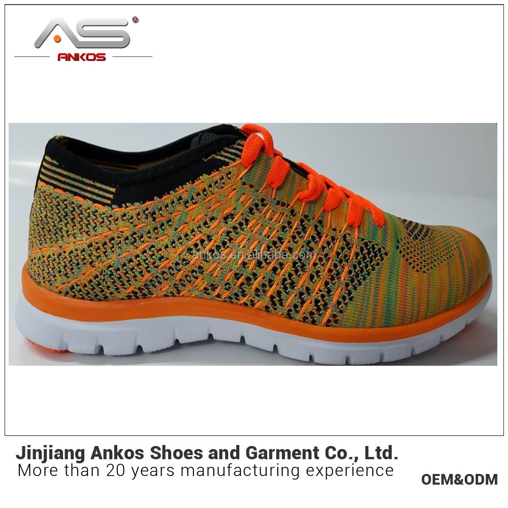 flyknit style authentic shoes with 3D EVA sole in anko shoe factory new develop in 2017