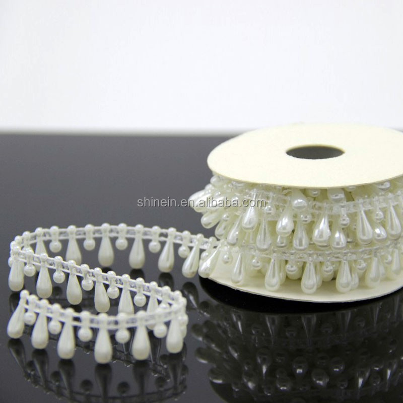 decorative plastic bead chain for curtains, crystal pearl plastic chain for DIY crafts