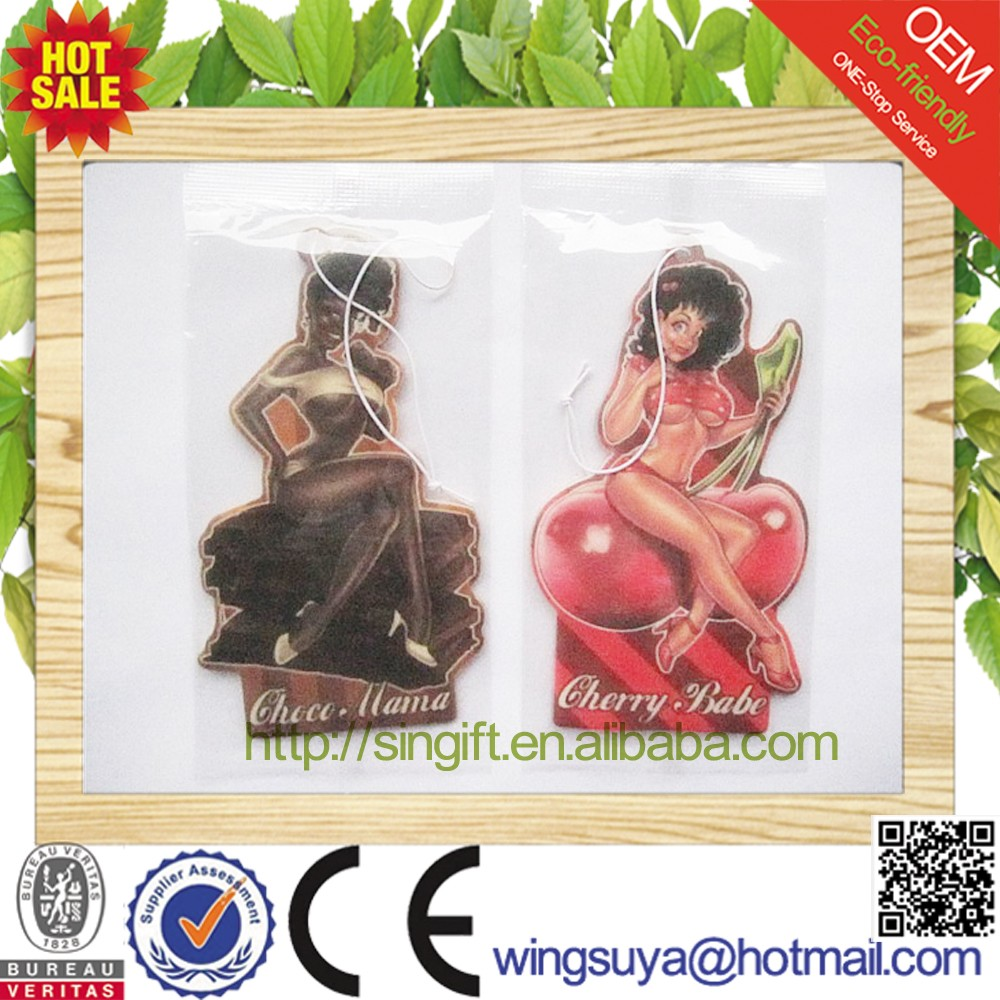 2017 Sexy Lady Eco-friendly Paper Air Freshener for Car or Home