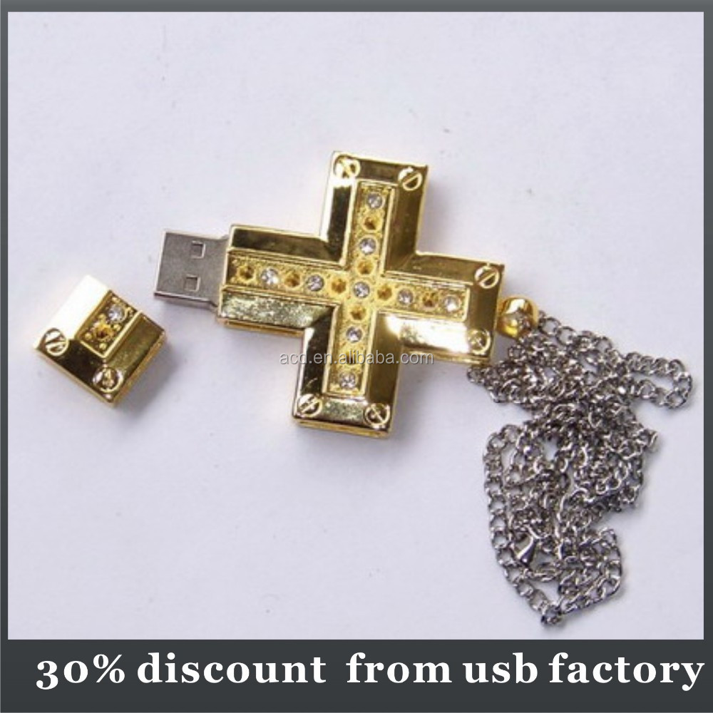 bulk 4GB cross shape jewel usb stick