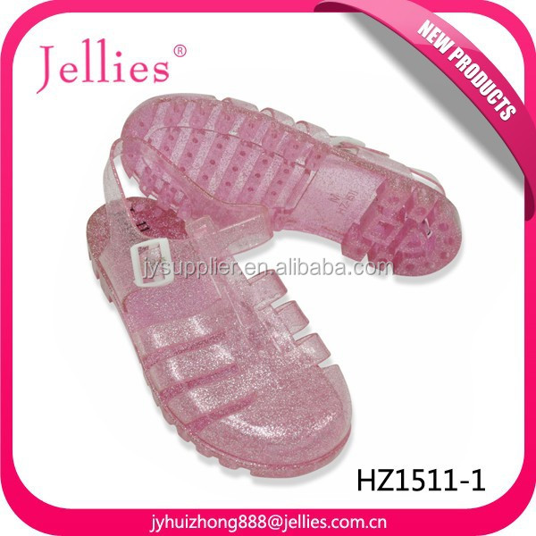 2015 Fashion Sandals Women Summer PVC Beach Shoe, Flat Jelly Sandals With Giltter