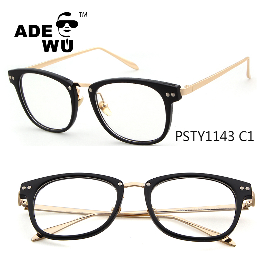 ADE WU women fashion vintage full rim amber non-prescription eyeglasses frames with clear lenses