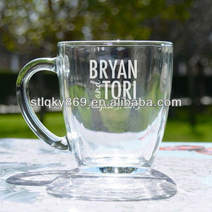 engraved coffee mug glassware made in China glass coffee mug with engraved logo clear glass coffee mug