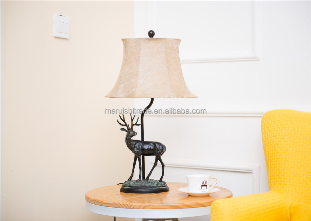 UL/CE approved 110-240v voltage Black David's deer/elk/wapiti resin table lamp with linen fabric lampshade E27 bulb holder