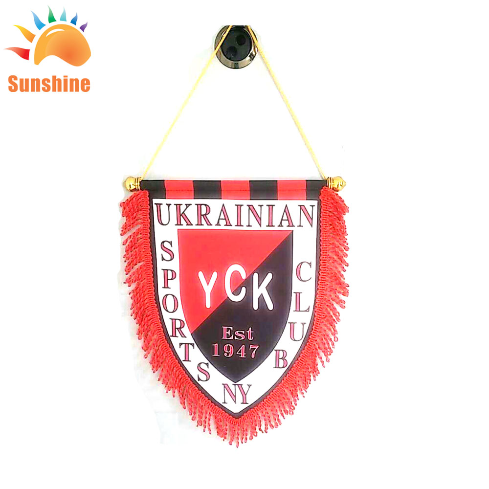 Hot selling custom logo 20x30cm satin pennant flag for the football team