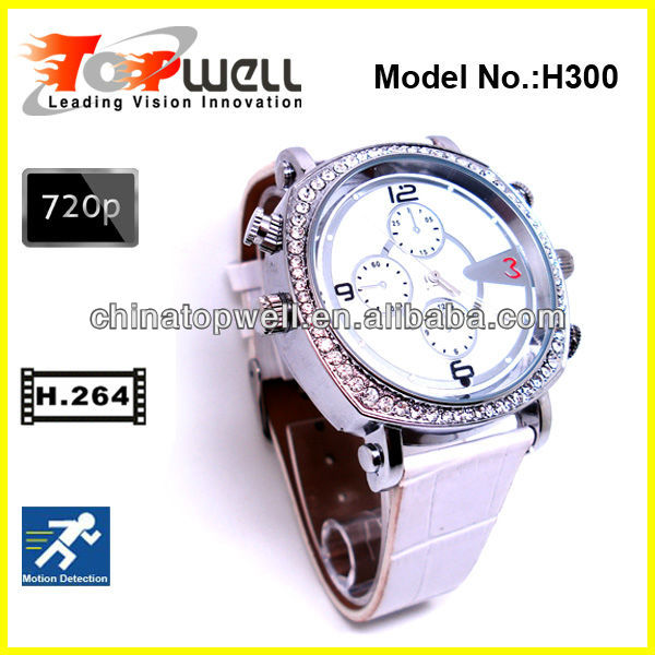 2013 Newest Fashion H.264 720P HD The Best Video Quality Lady Watch Camera,support motion detection
