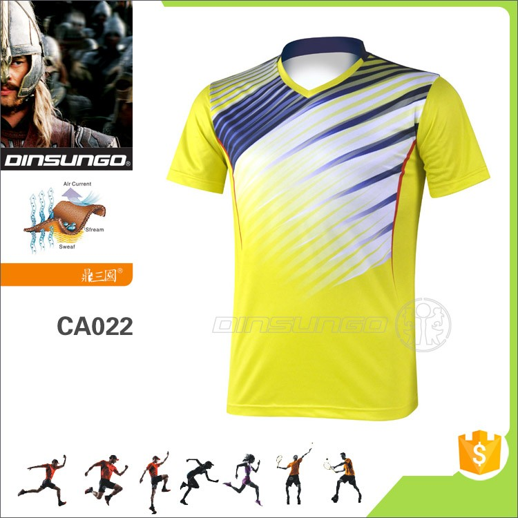 Custom made Quick Drying badminton wear Polyester badminton table tennis shirt with wholesale price DINSUNGO CA022