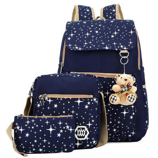 Wholesale fashion girls canavs bag 3sets school <strong>backpack</strong>