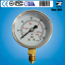 60mm chromeplated case dry pressure gauge brass connection bottom 315 bar 4500 psi