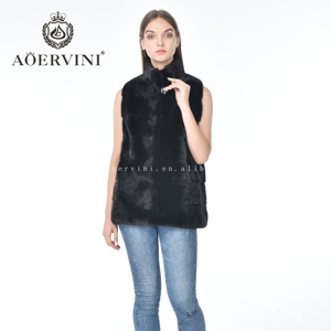 Fashion hot sell girl short  real mink fur vest women
