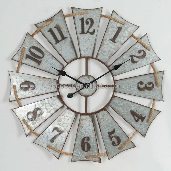 Oversize Galvanized Retro round clock ,Galvanized Windmill Clock , Retro Metal Windmill Wall Clock for country chic home Decor