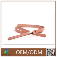 2016 fashion stylish new design hot sell PU woman dress belt for ladies with long metal bulk