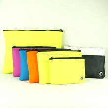 China factory whole color oem printed clutch neoprene evening bag in different size