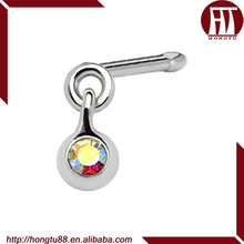 HT 316L Stainless Steel Ball Dangle Nose Bone Ring Created with Crystal Body Piercing Jewelry