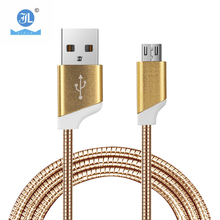 New Design gold silver color micro USB data cable spring elastic fast charging metal data cable for Android Iphone