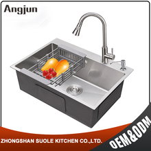 Factory Supply Hing Water Overflow Great Quality Kitchen Stainless Steel Sink