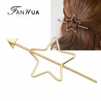 Fashion Gold Color Metal Star Shape Hair Clips