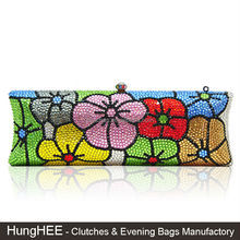 Beautiful Handmade Ladies Flower Crystal Clutch Purse Wholesale