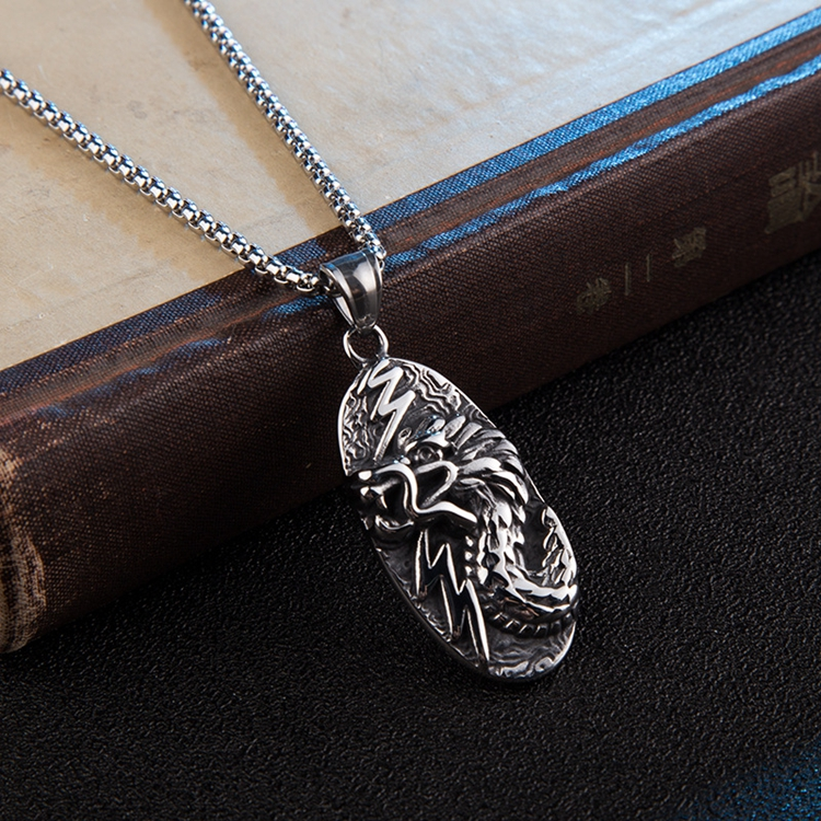 Antique Color Oval Shaped Fashionable Mens Engraved Dragon Necklace Jewelry