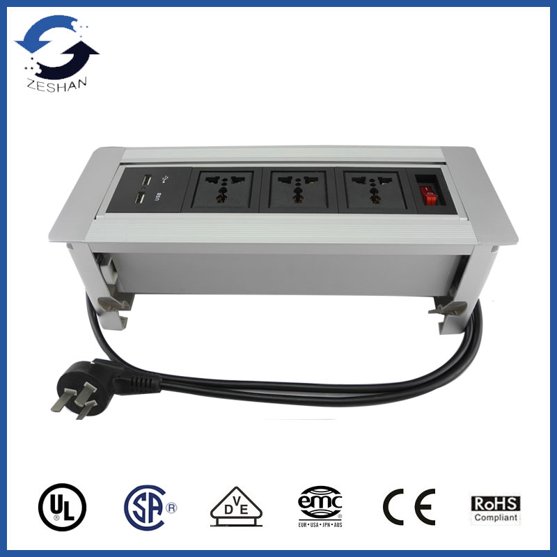 HOT!European power and USB charger for conference desk Cable Cubby
