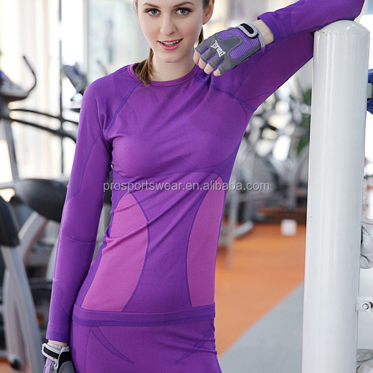 Wholesale manufactures of athletic gym yoga apparel long sleeve t-shirt