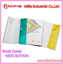 MIFIA New Design plastic protective PVC clear book covers with button