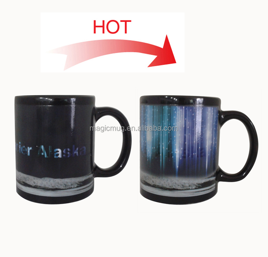 Promotional Custom 11oz Sublimation Color Changing Magic Coffee Mug Porcelain Ceramic Mugs