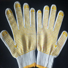 PVC dotted cotton knitted gloves / cotton work gloves with rubber grip dots