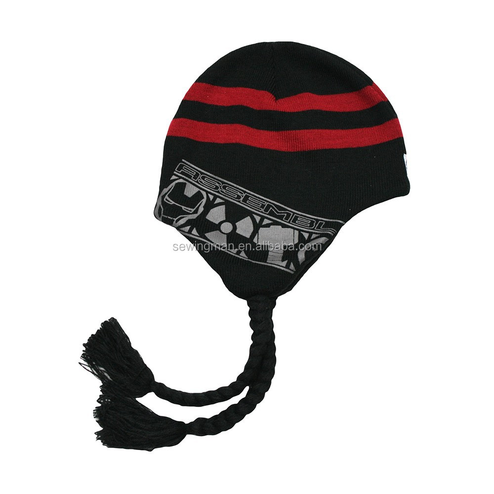 Winter cap, Jacquard Knitted Peruvian Hat with Striped Earflap