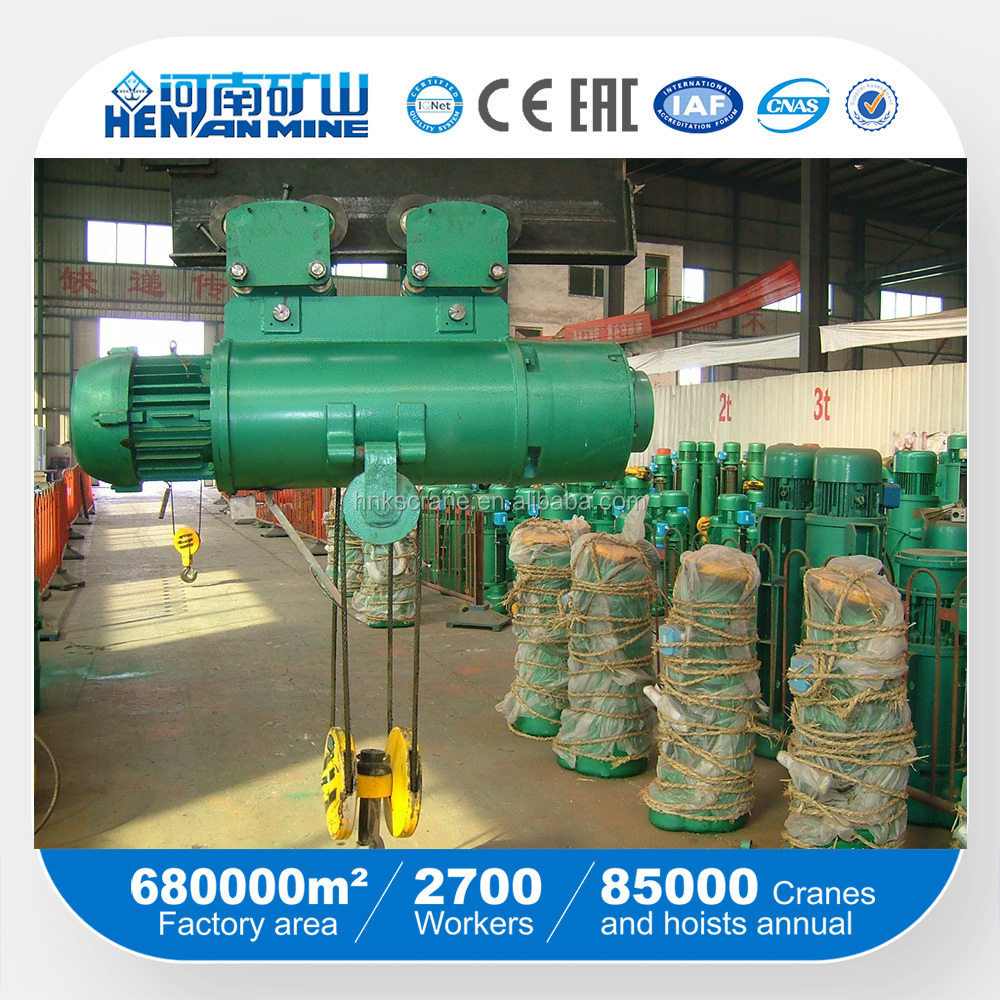Henan MIne China top Electric Telpher from 1ton 2ton 3ton 5ton 10ton 16ton 20ton mini wire rope ,Motor Hoist,Electric Block