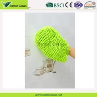 Microfiber material car wash mitt chenille cleaning glove