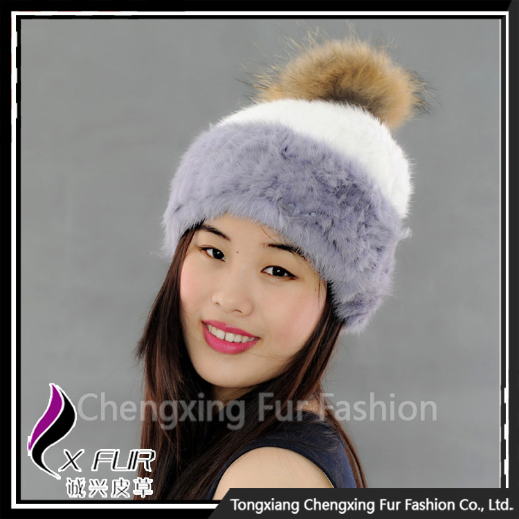 CX-C-235E Hot Selling Excellent Animal Real Knitted Mink Fur Hats
