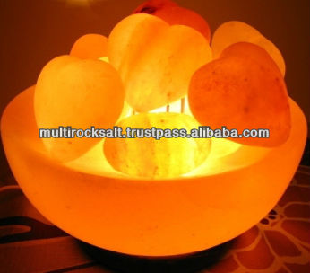 Crafted bowl Shaped Pink Rock Salt lamp with hearts