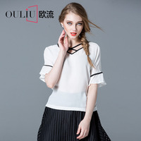 Free Shipping Latest Fashion Puff Sleeve V Neck White Chiffon Lady Blouse 2016 S-L