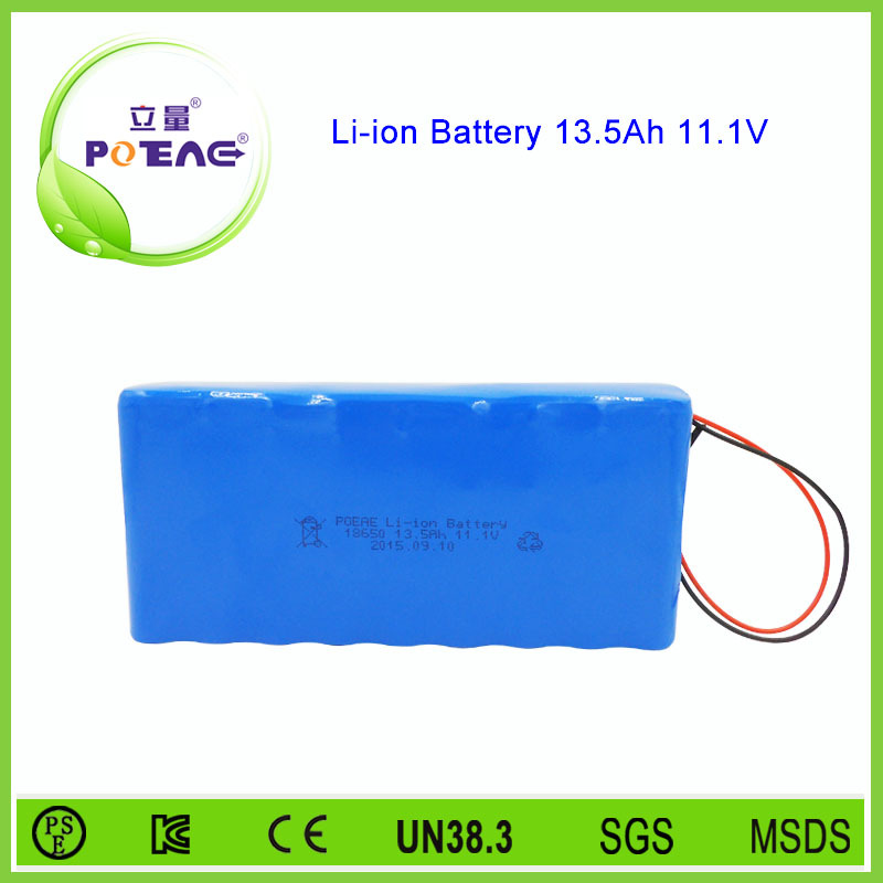 18650 li-ion 12volt battery pack with 13.5ah