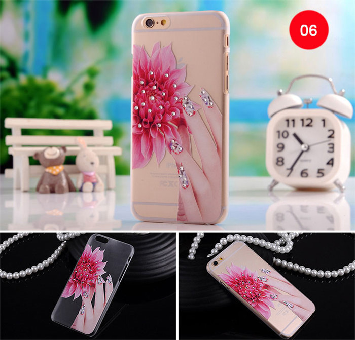 3D Relief Painting Plastic Hard Phone Cases for iPhone 6 plusCheap Cell phone Rhinestones Hard Back Case Cover for iphone 6s