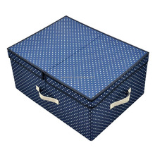 High Quality Polyster Fabric Clothing Storage Box for Heavy-duty Organisation with Folding Lid and Removable dividers Blue Dot