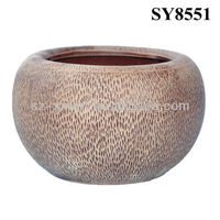 Light coffee glazed ceramic planters and pots