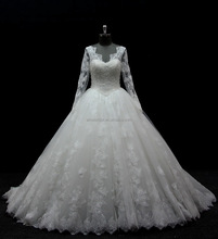 lastest design high quality long sleeve ball gown wedding dress