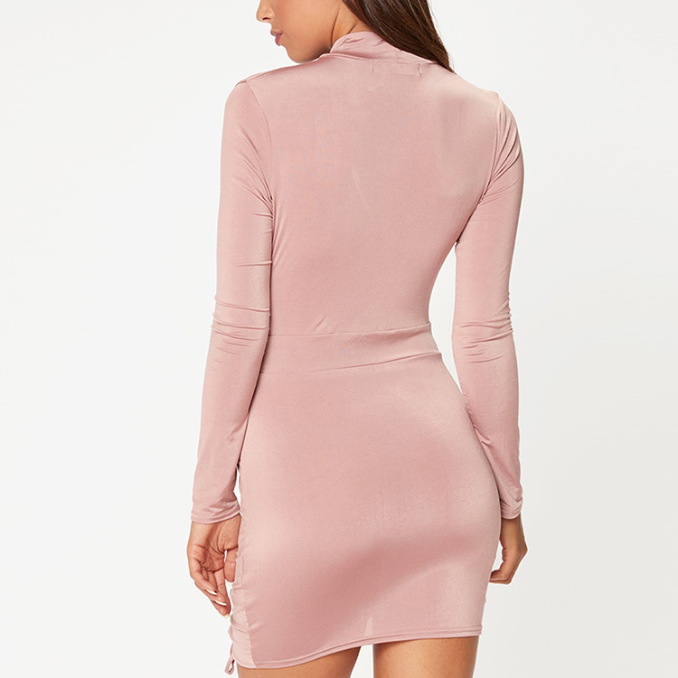 Fashion New Long Sleeve Short Pink Slit Chocker Neck Sexy Mini Party Dresses