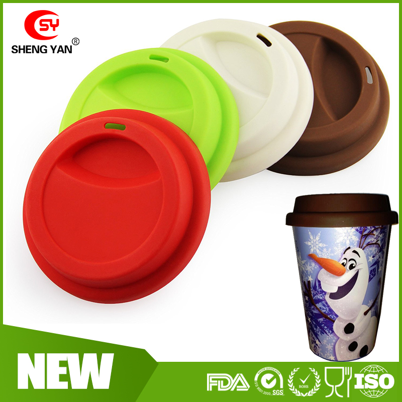FDA Silicone Cup Lid,Reusable Silicone Lid For Coffee Cup,Spill-Proof Silicone Coffee Cup Cover Lid