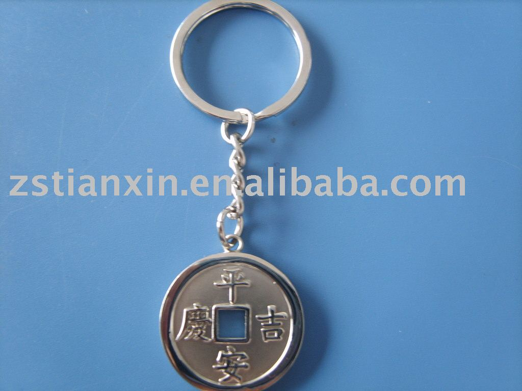 metal round keychain/ fashion coin key ring holder/ custom design metal key fob