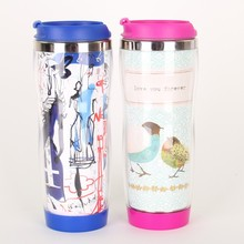 Double wall stainless steel and plastic insulated thermos coffee mugs tumbler with design paper insert