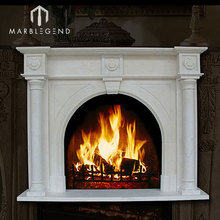 indoor used natural hand made marble fireplace mantel